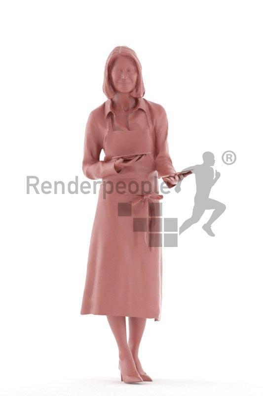 Posed 3D People model for renderings – Elderly european female, gastronomy, serving plates