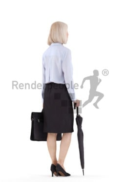 Photorealistic 3D People model by Renderpeople – elderly white woman in business look, with office bag and umbrella
