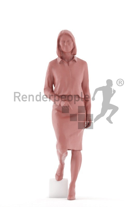 Posed 3D People model for visualization – elderly white woman, in business look walking downstairs