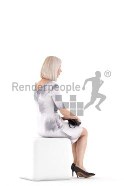3D People model for 3ds Max and Cinema 4D – old white female sitting, in an event dress