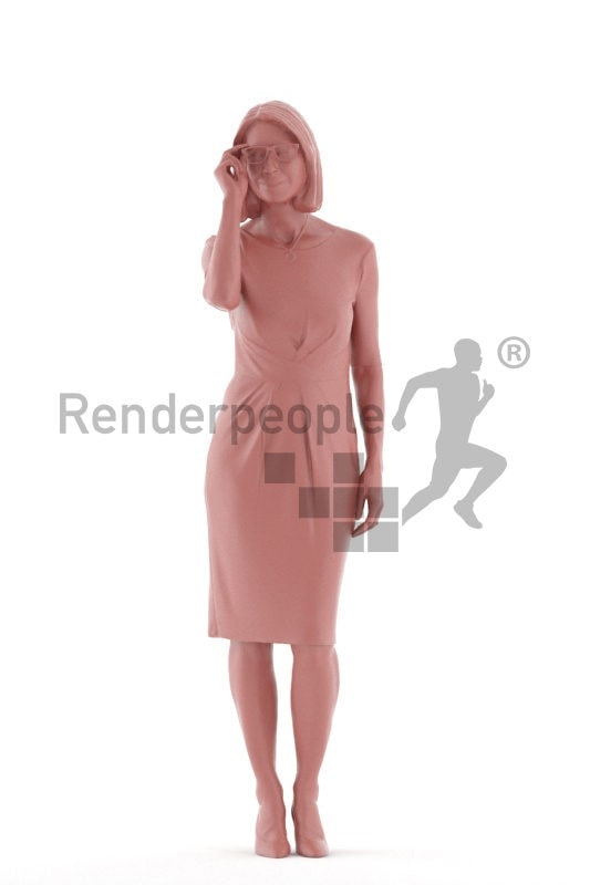 3D People model for 3ds Max and Maya  – elderly white woman in a dress, event