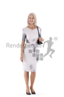 Photorealistic 3D People model by Renderpeople – elderly european woman walking in an event dress