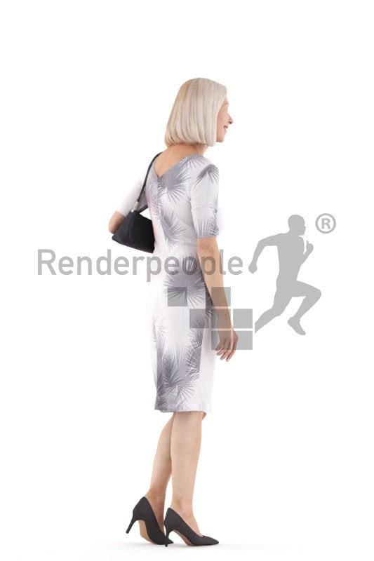 Photorealistic 3D People model by Renderpeople – elderly european woman walking in an event dress
