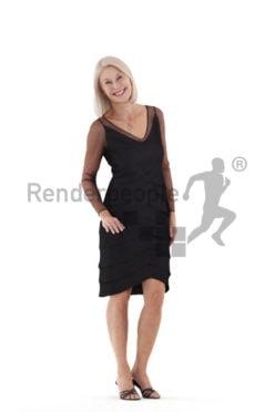 Photorealistic 3D People model by Renderpeople – elderly european woman in an event dress