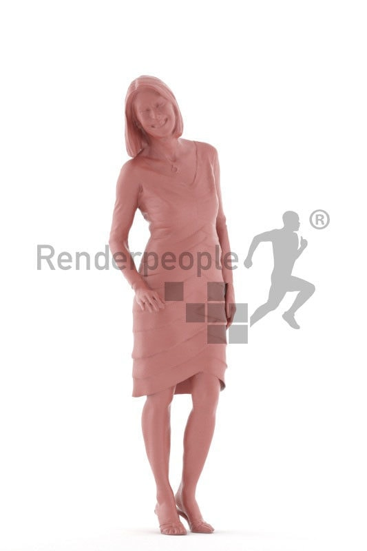 Photorealistic 3D People model by Renderpeople – elderly european woman in an event dress