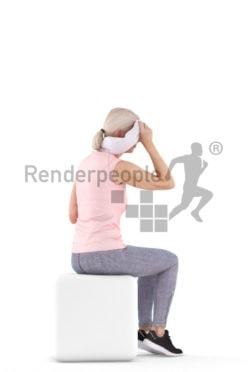 Posed 3D People model for renderings – old european woman sitting in sportswear, with a towel