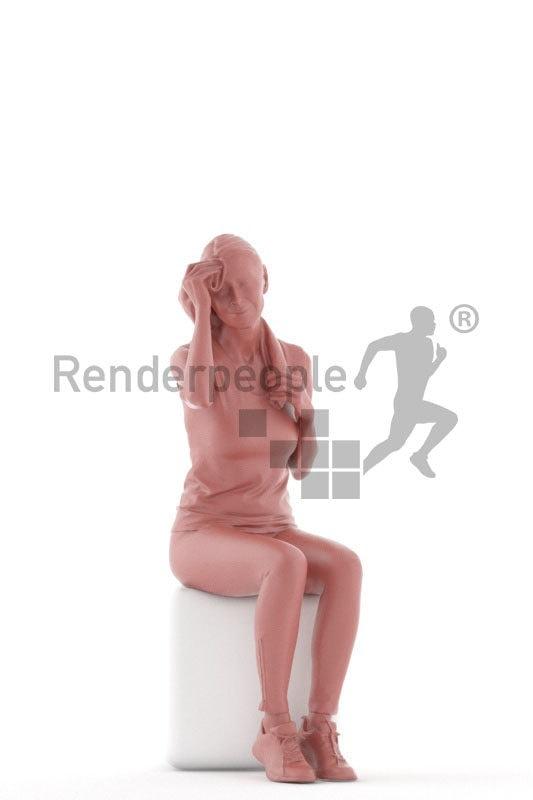 Posed 3D People model for renderings – old european woman sitting in sportswear, with a towel