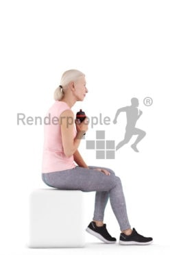 Posed 3D People model for renderings – old european woman sitting in sportswear, drinking from a botlle