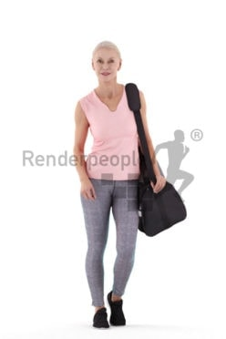 3D People model for 3ds Max and Sketch Up – old white woman walking in a gym outfit, with sports bag