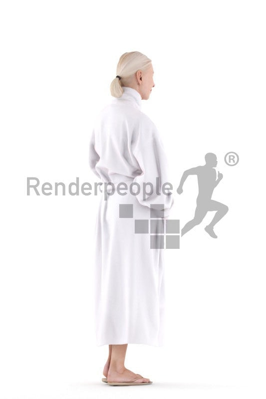 Photorealistic 3D People model by Renderpeople – elderly european woman with a bathrobe, spa