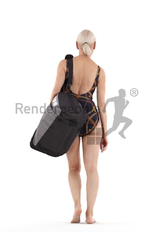 3D People model for 3ds Max and Blender – elderly european woman in swimmwear, with a bag