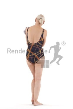 3D People model for 3ds Max and Cinema 4D – elderly white woman in swimmsuit, using a towel