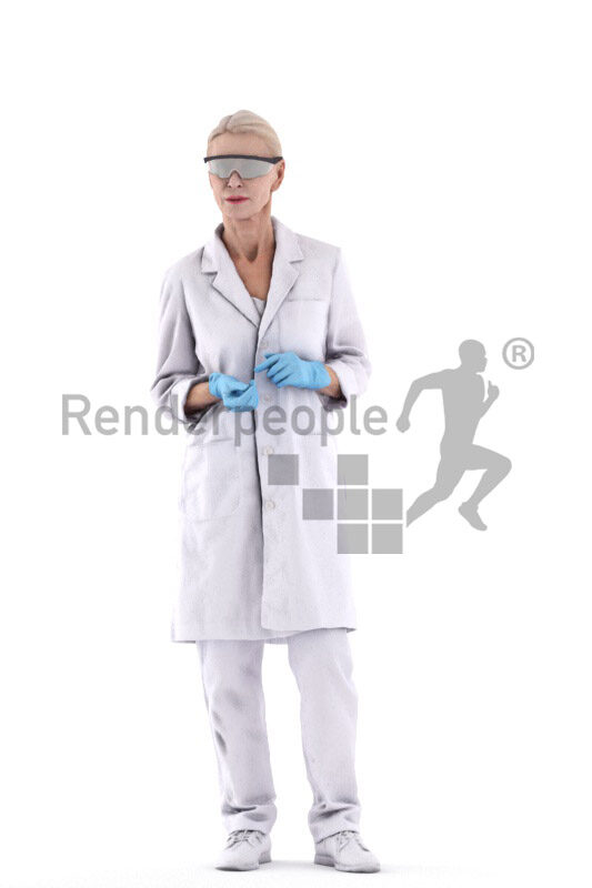 3D People model for 3ds Max and Maya – elderly white woman standing, in white coat, wearing goggles and gloves