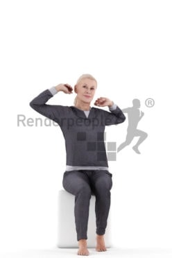 Posed 3D People model by Renderpeople – elderly european female in pyjamas, stretching