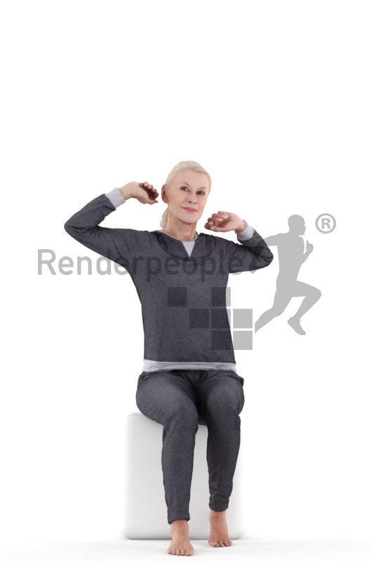 Posed 3D People model by Renderpeople – elderly european female in pyjamas, stretching