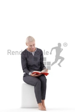 Posed 3D People model for renderings – elderly white woman sitting in sleepwear and reading