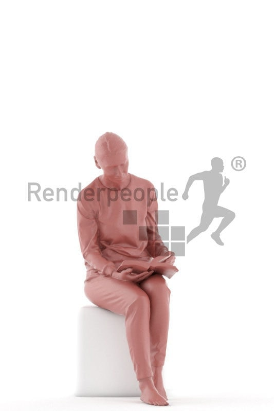 Posed 3D People model for renderings – elderly white woman sitting in sleepwear and reading