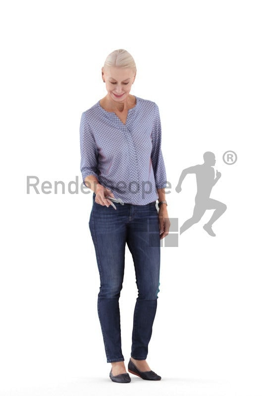 Photorealistic 3D People model by Renderpeople – elderly white woman with a tongs