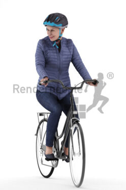 Posed 3D People model by Renderpeople – elderly white woman in outdoor look, wearing a helmet and riding a bike
