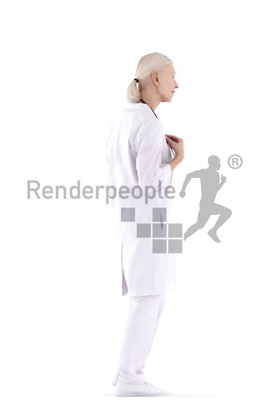 Posed 3D People model for visualization – elderly white woman, doctors outfit