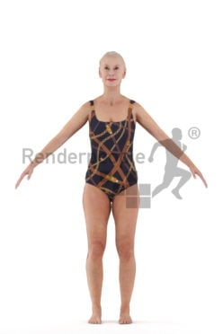 Rigged 3D People model for Maya and 3ds Max, elderly white woman, swimm wear