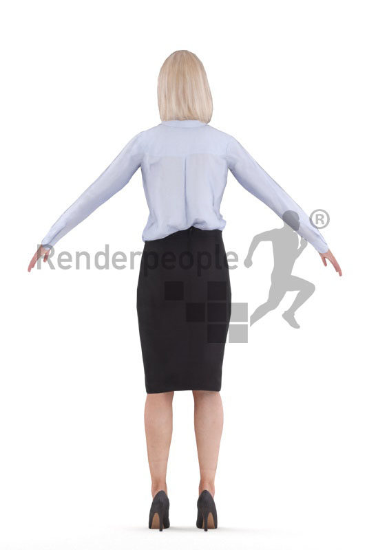 Rigged 3D People model for Maya and 3ds Max – elderly white woman in office look