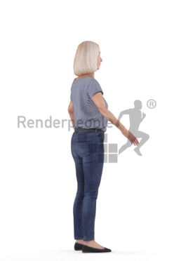 Rigged 3D People model for Maya and Cinema 4D – elderly white woman in a dailly look