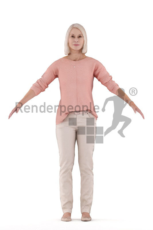 Rigged human 3D model by Renderpeople -elderly white woman in smart casual look