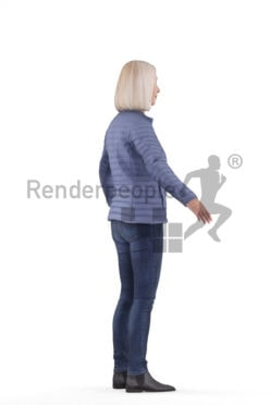 Rigged and retopologized 3D People model, elderly white woman, outdoor