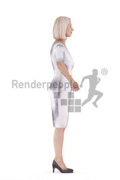 Rigged human 3D model by Renderpeople – elderly european woman in event dress
