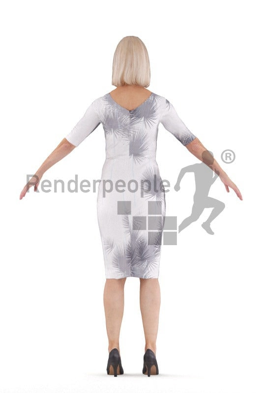 Rigged human 3D model by Renderpeople – elderly european woman in event dress