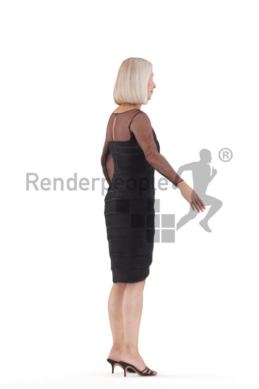 Rigged 3D People model by Renderpeople, elderly white woman, event