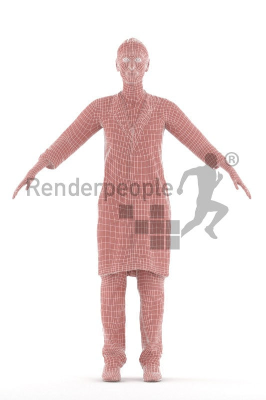 Rigged 3D People model for Maya and 3ds Max – elderly white female, in medical/healthcare outfit