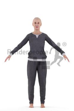 Rigged 3D People model by Renderpeople, elderly white woman, sleepwear