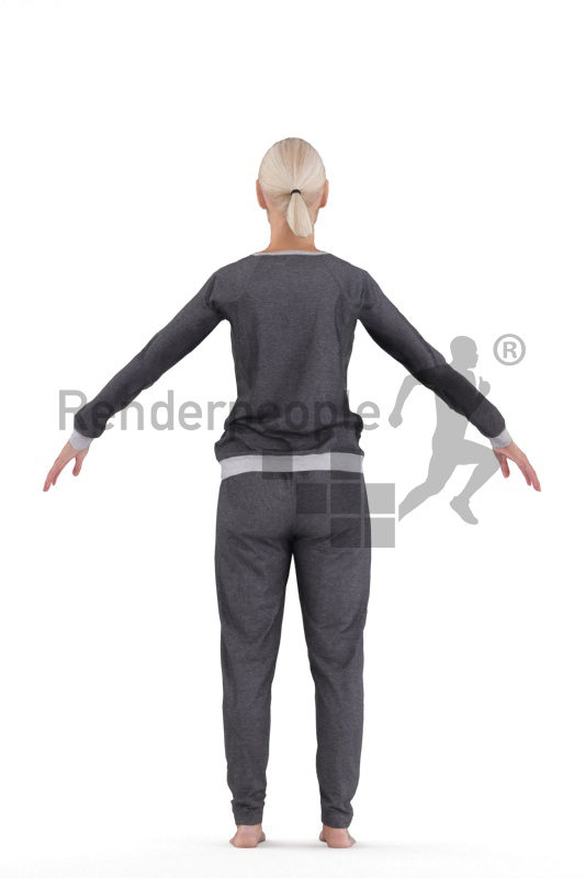 Rigged 3D People model by Renderpeople, elderly white woman, sleepwear