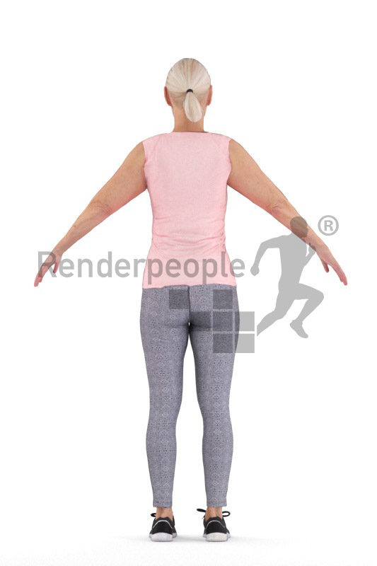 Rigged 3D People model for Maya and 3ds Max – elderly white woman in sports wear