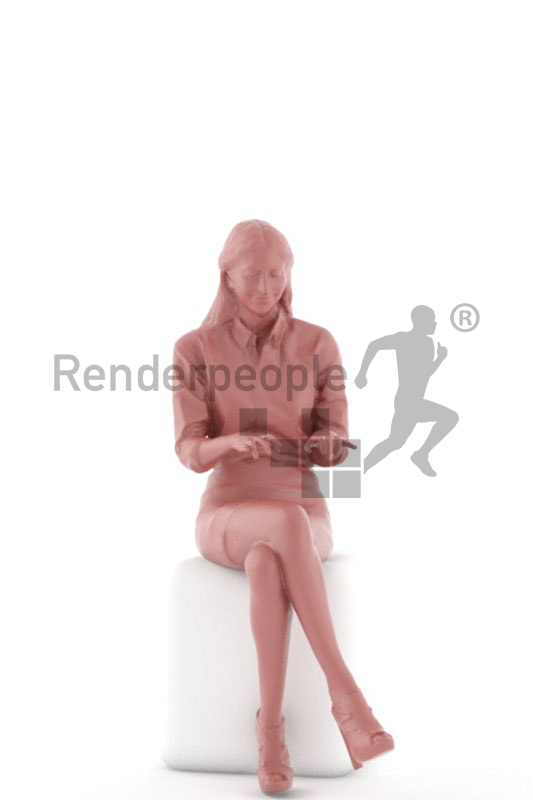 3d people business, middle eastern 3d woman sitting and typing