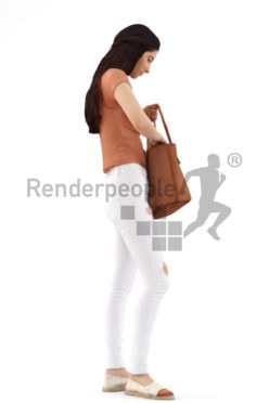 3d people shopping, middle eastern 3d woman with a bag