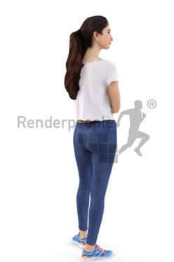 3d people sports, middle eastern 3d woman getting ready for a run