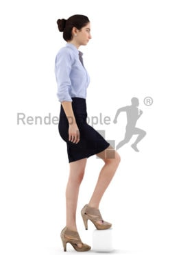 3d people business, middle eastern 3d woman walking stairs