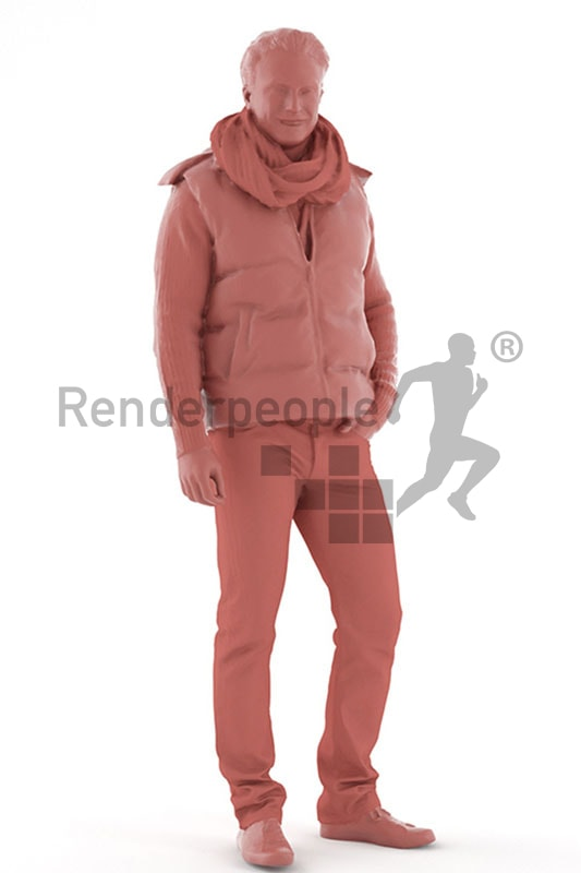 3d people casual, white 3d man standing
