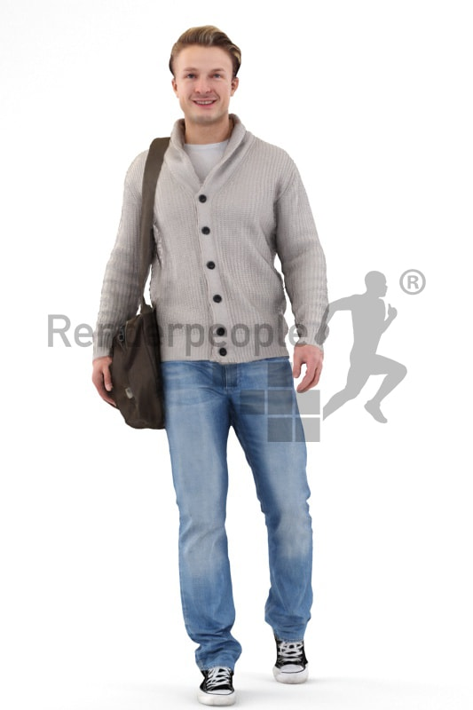 3d people casual, white 3d man wearing a bag walking