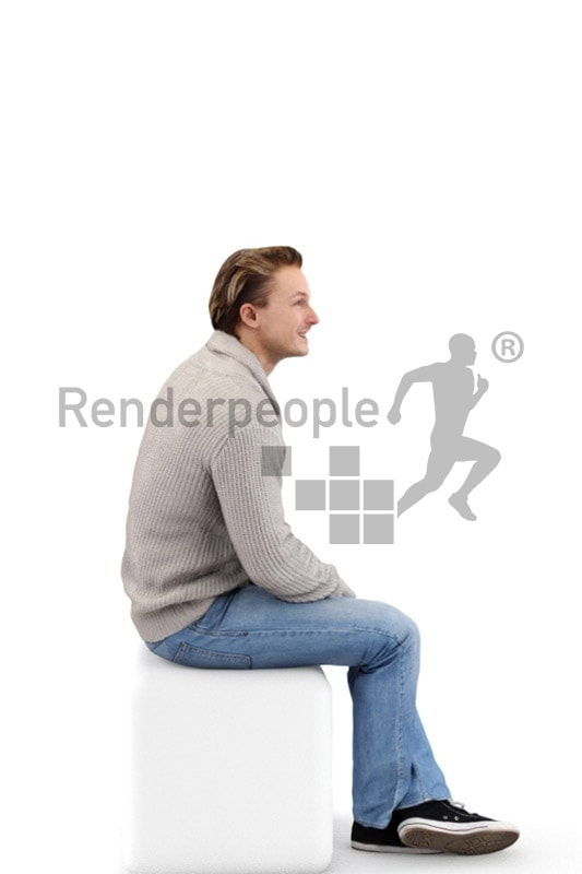 3d people casual, white 3d man sitting