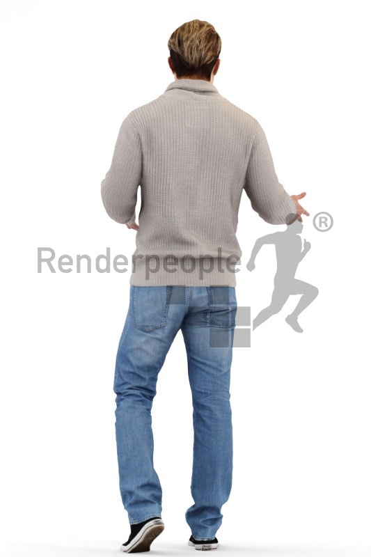 3d people casual, white 3d man walking and opening his arms