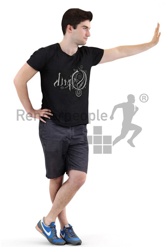 3d people casual, middle eastern 3d man wearing shorts