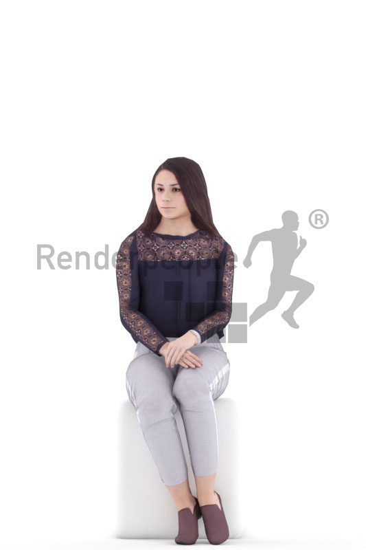 Animated human 3D model by Renderpeople – european woman in business look, sitting