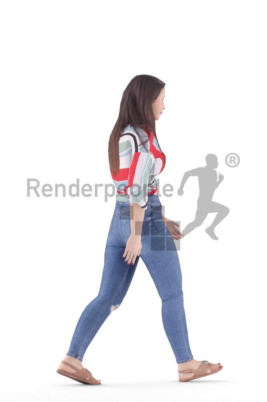 Animated human 3D model by Renderpeople – european woman, casual chic, walking