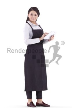 3d people service, white waitress woman holding tablet