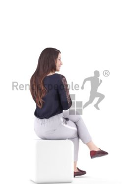 3d people caucasian woman sitting and talking
