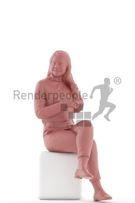 3d people casual, caucasian woman sitting and smiling